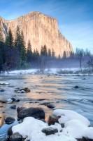 Yosemite, snow, El Capitan, Merced River, rocks, winter, Tom Jewett