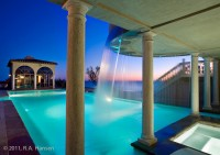 Laguna Beach, residence, pool, waterfall, sunset, ocean view