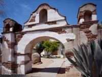 Mission, San Miguel, entrance, archway, statue, Fr. Serra, Tom Jewett, Serra
