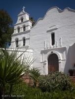 Mission, San Diego, facade, campanario, bell, Tom Jewett