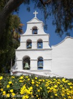 Mission, SanDiego, campanario, bells, bell tower, yellow, flowers, Tom Jewett
