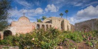 San Juan Capistrano, mission, garden, clouds, bells, ruin, Great Stone Church, Tom Jewett, San Juan