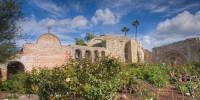 San Juan Capistrano, mission, garden, clouds, bells, ruin, Great Stone Church, Tom Jewett, San Juan