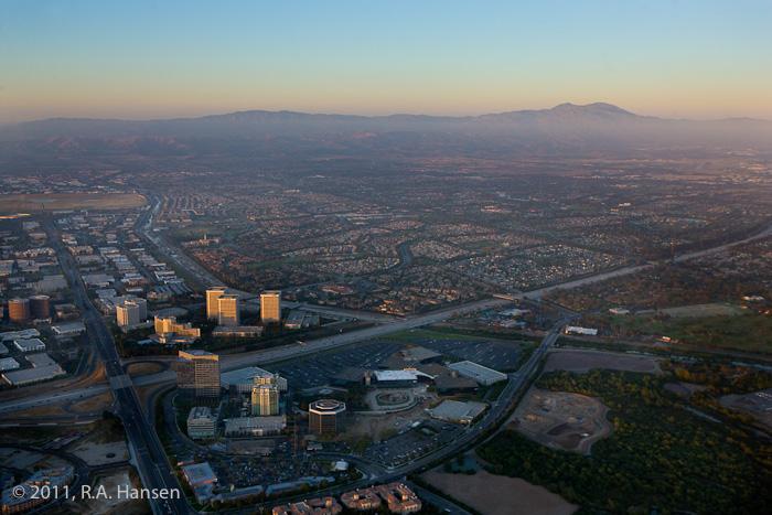 Aerial, Irvine, city, dusk, photo