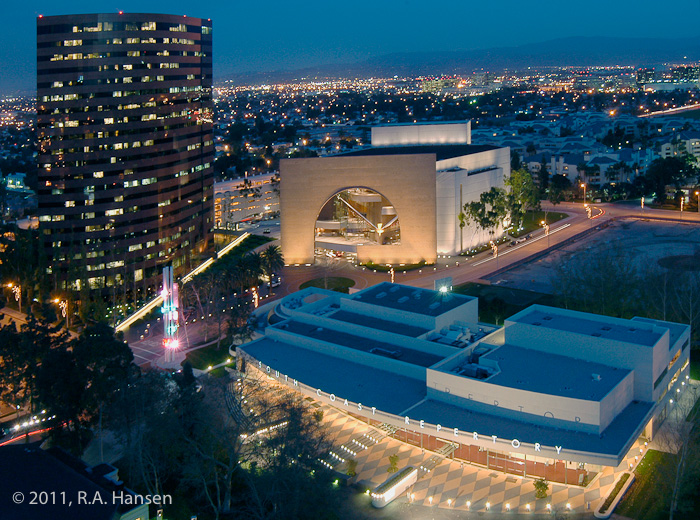 Evening view of the theater from atop the nearby Westin hotel, with Segerstrom Hall in the background.