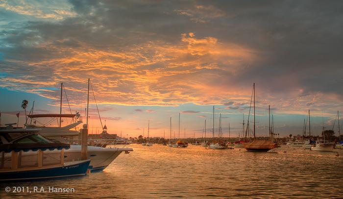 Newport Beach, harbor, sunset, clouds, boats, photo