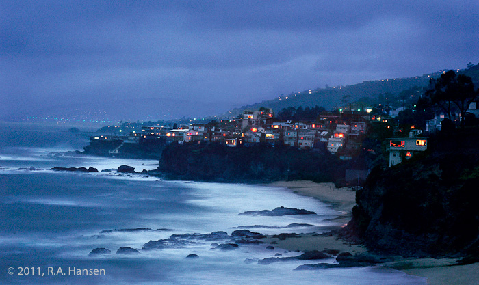 This 1978 view of storm clouds over the Laguna Beach shoreline has been one of Robert Hansen's most enduringly popular images...