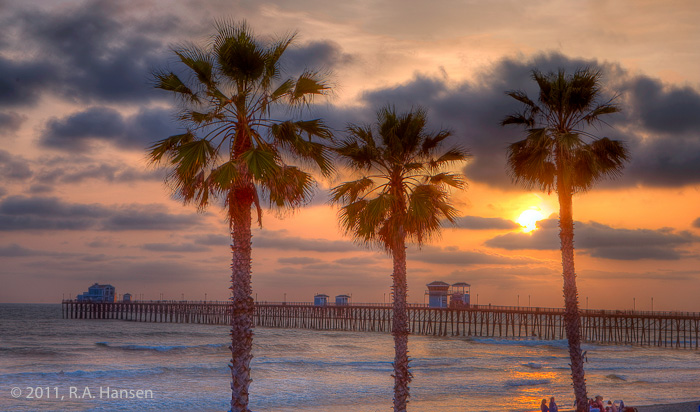 Oceanside, pier, sunset, palm trees, photo