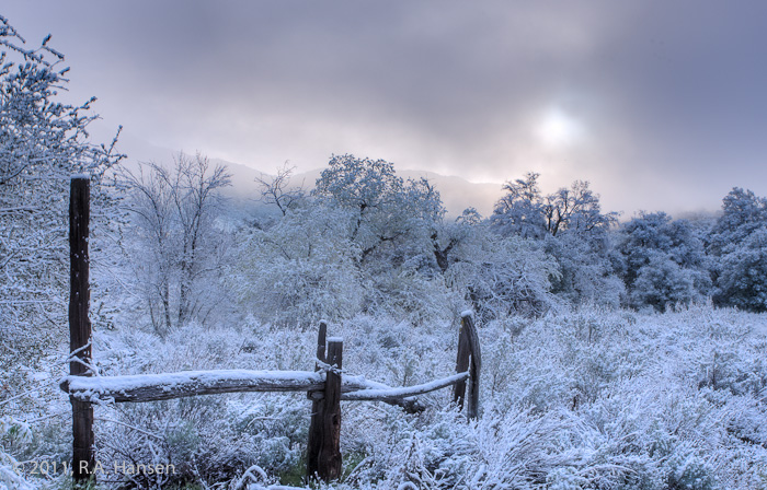San Diego County, winter, fence, frost, snow, sun, clouds, photo
