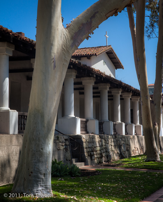 East colonnade, facade -- This wing of the mission, built in 1794, originally housed the living areas; it now serves as a museum...