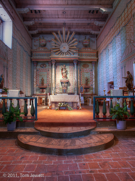 Interior of the church. Like many of the missions, this is constructed on a long rectangular plan, due to the limited width of...
