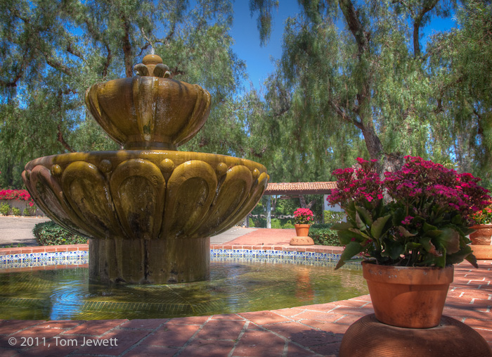 Garden fountain -- most of the missions have similar fountains; this one is from Mexico, of modern origin. Photo by Tom Jewett...