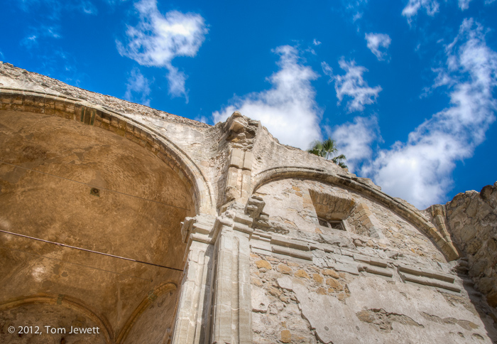 San Juan Capistrano, mission, Great Stone Church, clouds, earthquake, ruin, Tom Jewett, San Juan, church, photo