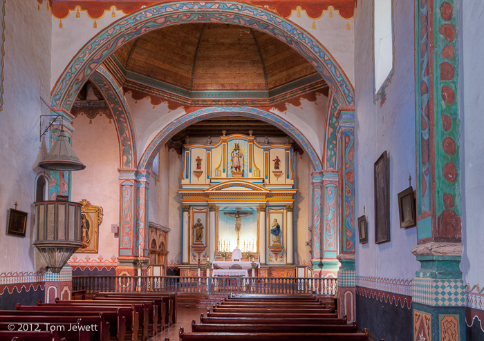Church interior, view #2. This is the only surving mission church that is constructed in a cruciform plan (the shape of a cross...