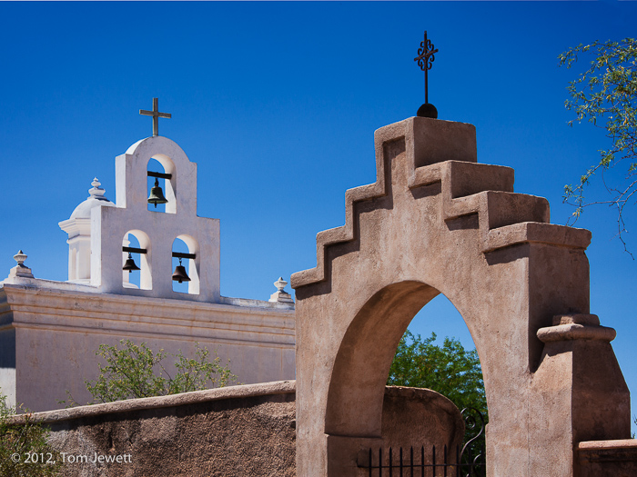 mission, San Xavier, Tucson, archway, bell, Tom Jewett, photo