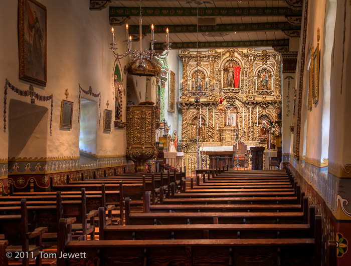 Mission, San Juan Capistrano, chapel, Fr. Serra, baroque, retablo, St. John, Tom Jewett, interior, San Juan, Serra, photo